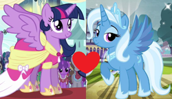 Size: 554x320 | Tagged: safe, edit, edited screencap, idw, screencap, trixie, twilight sparkle, alicorn, pony, magical mystery cure, reflections, spoiler:comic, alicornified, clothes, coronation dress, dress, female, gameloft, idw showified, lesbian, princess of humility, race swap, shipping, shipping domino, trixiecorn, twilight sparkle (alicorn), twixie