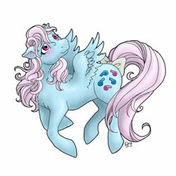 Size: 600x600 | Tagged: artist needed, safe, wind whistler, pony, bow, flying, g1, looking up, simple background, tail bow, white background