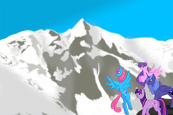 Size: 1500x1000 | Tagged: safe, artist:kourabiedes, north star, princess luna, twilight sparkle, wind whistler, pony, unicorn, g1, g1 to g4, generation leap, mountain, s1 luna, scenery, unicorn twilight