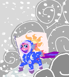 Size: 963x1072 | Tagged: safe, artist:bibliodragon, north star, pony, clothes, cloud, flag, g1, g1 to g4, generation leap, snow, snowsuit