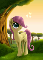 Size: 3250x4500 | Tagged: safe, alternate version, artist:darksly, fluttershy, butterfly, pegasus, pony, blank flank, bush, eye reflection, female, filly, filly fluttershy, folded wings, grass, hair over one eye, looking at something, looking up, outdoors, reflection, smiling, solo, standing, three quarter view, tree, wings, younger