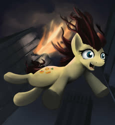 Size: 1024x1108 | Tagged: safe, artist:gsphere, munchy, pony, building, explosion, falling, g1, g1 to g4, generation leap, hat