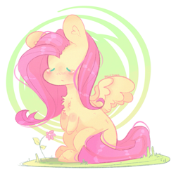 Size: 1053x1031 | Tagged: safe, artist:akiiichaos, fluttershy, pegasus, pony, blushing, chest fluff, chibi, cute, ear fluff, female, flower, mare, shyabetes, sitting, solo, spread wings, three quarter view, wings