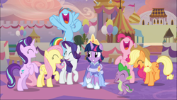 Size: 1668x939   Tagged: safe, screencap, applejack, fluttershy, pinkie pie, rainbow dash, rarity, spike, starlight glimmer, twilight sparkle, alicorn, dragon, the last problem, cheering, clothes, coronation dress, crown, dress, excited, eyes closed, female, flying, jewelry, male, mane seven, mane six, open mouth, regalia, second coronation dress, twilight sparkle (alicorn), winged spike
