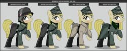 Size: 1280x512 | Tagged: safe, artist:brony-works, oc, oc only, earth pony, pony, boots, clothes, earth pony oc, eyelashes, female, hat, helmet, mare, nazi germany, raised hoof, reference sheet, shoes, smiling, solo, uniform, wehrmacht, world war ii