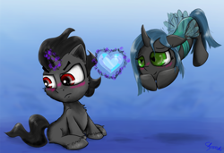 Size: 1280x877   Tagged: safe, artist:chopsticks, king sombra, queen chrysalis, pony, blushing, cheek fluff, chest fluff, chrysombra, colt, crystal heart, cute, female, filly, flying, grumpy, hoof fluff, levitation, magic, male, shipping, straight, telekinesis, wingding eyes, younger
