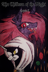 Size: 2145x3229 | Tagged: safe, artist:mysteriousshine, comic:the children of the night, bust, cloak, clothes, cover art, duo, fangs, hood, open mouth, red eyes, slit eyes, smiling, traditional art