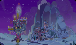 Size: 954x572 | Tagged: safe, artist:mysteriousshine, background, castle, mountain, night, no pony, resource, school of friendship, snow, stars, twilight's castle, winter