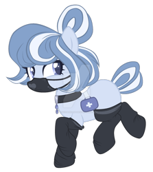Size: 1280x1432 | Tagged: safe, artist:magicdarkart, oc, earth pony, pony, clothes, deviantart watermark, female, mare, obtrusive watermark, simple background, socks, solo, surgical mask, transparent background, watermark
