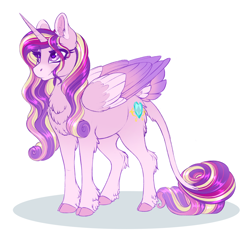 Size: 1322x1307 | Tagged: safe, artist:peridotkitty, princess cadance, alicorn, pony, chest fluff, cloven hooves, coat markings, colored hooves, colored wings, cute, cutedance, ear fluff, female, heart eyes, leg fluff, leonine tail, mare, multicolored wings, redesign, simple background, solo, tail feathers, tail fluff, white background, wingding eyes, wings