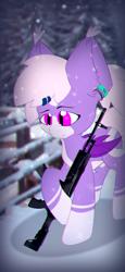 Size: 1080x2340 | Tagged: safe, artist:parabellumpony, oc, oc only, oc:midnight flight, bat, ak-12, fence, gun, snow, snowfall, solo, wallpaper, weapon, winter