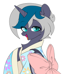 Size: 1560x1756 | Tagged: safe, artist:alylachan, oc, oc only, oc:elizabat stormfeather, alicorn, bat pony, bat pony alicorn, pony, alicorn oc, bat pony oc, bat wings, chest fluff, clothes, female, horn, kimono (clothing), mare, open mouth, raised hoof, simple background, solo, transparent background, wings, ych result