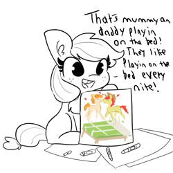 Size: 2250x2250 | Tagged: safe, artist:thehuskylord, artist:tjpones, edit, applejack, pear butter, earth pony, pony, comic:fillies, applebetes, bed, bittersweet, blank flank, crayon, crayon drawing, cute, dialogue, drawing, female, filly, freckles, heart, implied good clean married sex, implied sex, innocent, innocent innuendo, jackabetes, mare, picture, sexually oblivious, simple background, solo, tooth gap, traditional art, weapons-grade cute, white background, younger