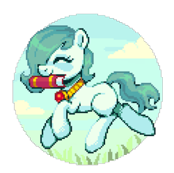 Size: 725x722 | Tagged: safe, artist:hikkage, oc, oc only, oc:emerald jewel, colt quest, book, cute, ocbetes, pixel art, simple background, solo, transparent background