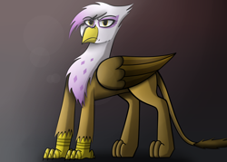 Size: 2800x2000 | Tagged: safe, artist:somber, gilda, griffon, annoyed, background, colored, fanart, female, light, looking at you, serious, serious face, shadow, solo, standing