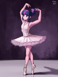 Size: 1536x2048 | Tagged: safe, artist:tinybenz, twilight sparkle, human, a royal problem, armpits, ballerina, ballet, ballet slippers, dancing, female, hair bun, humanized, solo, tutu, twilarina