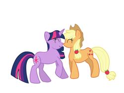Size: 2304x1728 | Tagged: safe, artist:wimple, applejack, twilight sparkle, earth pony, unicorn, boop, female, lesbian, shipping, twijack, unicorn twilight