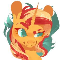 Size: 2000x2000   Tagged: safe, artist:alabasterpeony, sunset shimmer, pony, abstract background, bust, colored pupils, cute, female, high res, mare, portrait, shimmerbetes, simple background, solo, transparent background