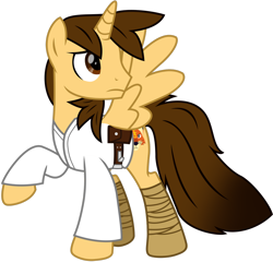 Size: 1280x1231 | Tagged: safe, artist:ejlightning007arts, oc, oc only, oc:ej, alicorn, pony, alicorn oc, belt, boots, clothes, cosplay, costume, crossover, horn, looking up, luke skywalker, male, pouch, raised hoof, shoes, simple background, spread wings, stallion, star wars, transparent background, vector, wings