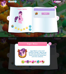 Size: 1280x1440 | Tagged: safe, sugar belle, pony, unicorn, bio, cute, female, game screencap, gameloft, gem, mare, solo, stars, sugarbetes, tree