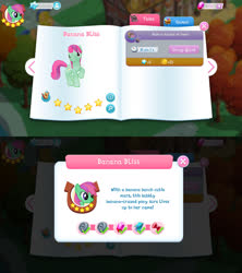 Size: 1280x1440 | Tagged: safe, banana bliss, pegasus, pony, bio, female, game screencap, gameloft, gem, mare, solo, stars, tree