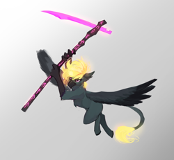 Size: 2300x2124 | Tagged: safe, artist:nsilverdraws, oc, oc only, oc:varis kaisareia sundown, hippogriff, female, flying, glowing tail, scythe, simple background, solo, spread wings, sundown clan, weapon, wings