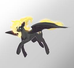 Size: 2300x2124 | Tagged: safe, artist:nsilverdraws, oc, oc only, oc:veen sundown, horse, pegasus, pony, female, flying, glowing mane, glowing tail, mare, simple background, solo, spread wings, sundown clan, wings