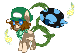 Size: 824x598 | Tagged: safe, artist:ad-opt, oc, oc only, monster pony, original species, piranha plant pony, augmented tail, crossover, fangs, luigi, neckerchief, simple background, tongue out, transparent background
