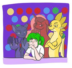 Size: 1387x1311 | Tagged: safe, princess luna, spike, twilight sparkle, oc, oc:katrina, oc:navarone, group