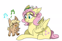Size: 3000x2000 | Tagged: safe, artist:scarletskitty12, fluttershy, oc, oc:wren, chest fluff, duo, female, filly, floppy ears, flower, flower in hair, fluffy, fluttermom, mother and child, mother and daughter, music notes, offspring, parent:bulk biceps, parent:fluttershy, parents:flutterbulk, prone, simple background, singing, white background
