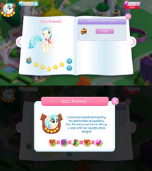 Size: 1280x1440 | Tagged: safe, coco pommel, earth pony, pony, bio, cocobetes, cute, female, game screencap, gameloft, gem, mare, solo, stars