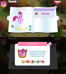 Size: 1280x1440 | Tagged: safe, berry punch, berryshine, earth pony, pony, berrybetes, bio, cute, female, game screencap, gameloft, gem, mare, solo, stars