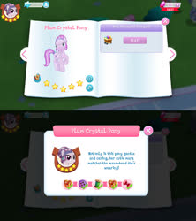 Size: 1280x1440 | Tagged: safe, amethyst shard, crystal pony, earth pony, pony, bio, female, game screencap, gameloft, gem, mare, solo, stars