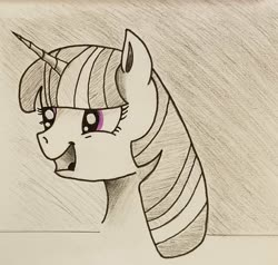 Size: 1889x1796 | Tagged: safe, artist:polar_storm, twilight sparkle, alicorn, pony, bust, female, happy, mare, monochrome, neo noir, partial color, purple eyes, simple background, sketch, solo, talking, traditional art