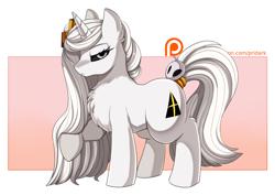 Size: 3524x2500 | Tagged: safe, artist:pridark, oc, oc only, oc:whitefire, pony, unicorn, black sclera, chest fluff, female, long mane, mare, patreon, patreon logo, patreon reward, solo, tail ring, unamused