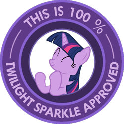 Size: 500x500 | Tagged: safe, twilight sparkle, pony, unicorn, look before you sleep, approved, circle, clapping, eyes closed, seal of approval, simple background, transparent background, vector