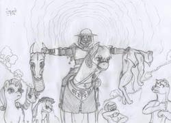 Size: 900x649 | Tagged: safe, artist:sqoad, diamond dog, dragon, earth pony, pony, unicorn, clothes, dead, decapitated, female, male, mare, monochrome, pubic fluff, severed head, traditional art