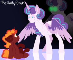 Size: 654x545 | Tagged: safe, artist:spuds-mcfrenzy, princess flurry heart, oc, oc:eclipse, alicorn, pony, unicorn, female, filly, inkyverse, mare, older, older flurry heart, this will end in tears