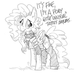 Size: 1200x1200 | Tagged: safe, artist:flutterthrash, fluttershy, pegasus, alternate hairstyle, choker, clothes, cute, dialogue, female, jacket, leg warmers, metal, metalshy, monochrome, shyabetes, solo, spiked choker