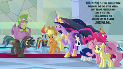 Size: 3840x2160 | Tagged: safe, artist:le-23, applejack, fluttershy, pinkie pie, rainbow dash, rarity, spike, twilight sparkle, oc, oc:going lucky, alicorn, dragon, pegasus, pony, the last problem, male, mane seven, mane six, older, older applejack, older fluttershy, older mane 6, older mane 7, older pinkie pie, older rainbow dash, older rarity, older spike, older twilight, princess twilight 2.0, stallion, twilight sparkle (alicorn), winged spike