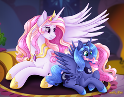 Size: 3948x3089 | Tagged: safe, artist:mailner, princess celestia, princess luna, blushing, cewestia, crown, cute, cutie mark, fangs, female, filly, gem, jewelry, lipstick, looking at each other, nom, regalia, s1 luna, spread wings, wings, woona, younger