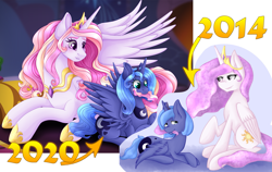 Size: 2821x1786 | Tagged: safe, artist:mailner, princess celestia, princess luna, blushing, cewestia, crown, cute, cutie mark, fangs, female, filly, gem, jewelry, lipstick, looking at each other, nom, regalia, s1 luna, spread wings, wings, woona, younger