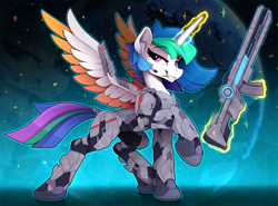 Size: 2200x1630 | Tagged: safe, artist:yakovlev-vad, princess celestia, alicorn, pony, armor, female, future, grin, gun, headset, looking at you, magic, mare, raised hoof, smiling, smirk, solo, spread wings, telekinesis, toothpick, warrior, warrior celestia, weapon, wings, zoom layer