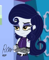Size: 850x1050 | Tagged: safe, artist:rjp.rammy, moonlight raven, equestria girls, belly button, belt, clothes, cutie mark tattoo, ear piercing, earring, equestria girls-ified, evening gloves, eyeshadow, female, gloves, goth, jacket, jeans, jewelry, long gloves, makeup, midriff, pants, piercing, sleeveless, solo, tattoo, unamused