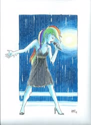 Size: 1700x2338 | Tagged: safe, artist:tonyfleecs, rainbow dash, equestria girls, armpits, black dress, clothes, commissioner:ajnrules, drenched, dress, high heels, lipstick, little black dress, microphone, rain, rainbow dash always dresses in style, shoes, singing, singing in the rain, sleeveless, soaked, solo, spotlight, traditional art, wet, wet clothes, wet dress