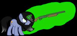 Size: 1856x878 | Tagged: safe, artist:isaac_pony, oc, oc:shainer shrapnel shock, pony, unicorn, angry, black mane, cutie mark, doom, doom equestria, female, green eyes, green magic, gun, magic, shotgun, show accurate, simple background, solo, transparent background, vector, weapon