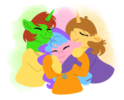 Size: 2560x2064 | Tagged: safe, artist:bellbell123, oc, oc:aspen, oc:bella pinksavage, oc:peaceful shimmer, oc:ryan, unicorn, bodysuit, brother and sister, caring, catsuit, eyes closed, family, female, group hug, heartwarming, hippie, horn, hug, jewelry, latex, latex suit, love, male, necklace, peace suit, peace symbol, rubber suit, sibling bonding, siblings, the peace family, unicorn oc