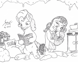 Size: 1540x1272 | Tagged: safe, artist:parallel black, pinkie pie, rarity, alternate hairstyle, baking, batter, book, bowl, cooking, food, ingredients, kitchen, messy, mixing bowl, monochrome, reading, reference, sketch, the simpsons, traditional art