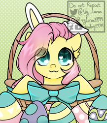 Size: 650x750   Tagged: safe, artist:thanhvy15599, fluttershy, pegasus, pony, basket, bow, bunny ears, commission, cute, ear fluff, easter, easter basket, easter egg, egg, eye clipping through hair, heart eyes, holiday, shyabetes, solo, wingding eyes, ych example, your character here