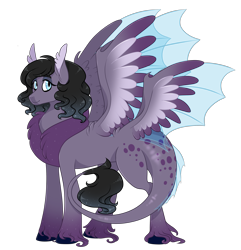 Size: 2700x2800 | Tagged: safe, artist:gigason, oc, oc only, hybrid, pony, butt wings, high res, interspecies offspring, multiple wings, offspring, parent:discord, parent:oc:shade, parents:canon x oc, simple background, solo, transparent background, unshorn fetlocks, wings